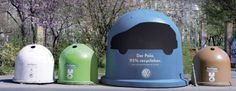 """To promote its new Polo, which is apparently made of 95 percent recyclable material, Volkswagen created these """"Car Recycling Bins. Street Marketing, Viral Marketing, Guerilla Marketing, Marketing Digital, Marketing And Advertising, Guerrilla Advertising, Creative Advertising, Advertising Space, Volkswagen Polo"""