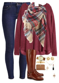 """Plaid and riding boots"" by thedancersophie ❤ liked on Polyvore featuring Levi's, H&M, Tory Burch, Kendra Scott, Charlotte Russe, Cartier, MICHAEL Michael Kors and MAC Cosmetics"