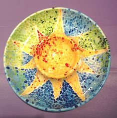 Sun Mosaic Chip & Dip | Paint Your Own Pottery | Paint Your Pot | Cary, North Carolina