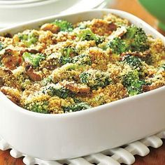 ~Broccoli-Mushroom Casserole~ 8 Servings **Ingredients** Salt and pepper~ 5 cups broccoli florets~ 1 tablespoon olive oil~ 1 small onion, thinly sliced~ 3 cloves garlic, minced~ 1 cup sliced mushrooms~ 1/4 teaspoon crushed red pepper~ 3 tablespoons unsalted butter~ 2 tablespoons all-purpose flour~ 1 1/4 cups low-fat milk~ 1 teaspoon Dijon mustard~ 1/4 cup seasoned bread crumbs~ 2 tablespoons grated Parmesan~  **Preparation** Preheat oven to 350°F. Mist a 9-inch baking dish with cooking…
