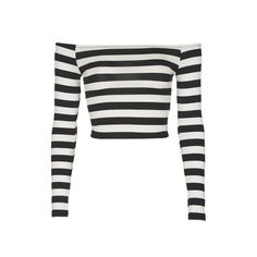 TopShop Stripe Bardot Tee ($28) ❤ liked on Polyvore featuring tops, t-shirts, crop tops, monochrome, white long sleeve t shirt, wrap crop top, stripe tee, striped long sleeve t shirt and striped tee