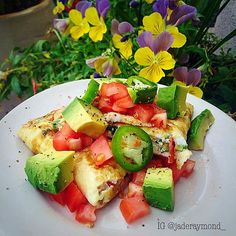 Preparation is key!!! So today for lunch I made this yummy egg white omelet topped with avocado, jalapeño, and tomatoes!  What did you have for lunch?