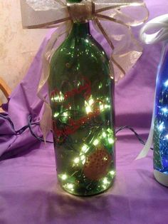 Wine Bottle Lamps - Great Christmas (or anytime) craft project