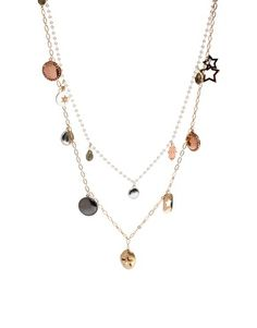 Orelia Multi Row Mixed Charm Necklace