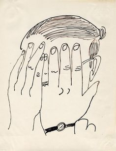 Andy Warhol (American, 1928-1987)    Self-Portrait, ca. 1953     ink on bond paper    11 x 8 1/2 in. (27.9 x 21.6 cm.)    The Andy Warhol Museum, Pittsburgh; Founding Collection, Contribution The Andy Warhol Foundation for the Visual Arts, Inc.    © The Andy Warhol Foundation for the Visual Arts, Inc.    1998.1.1978    Read more at warhol.org: http://www.warhol.org/collection/art/selfportraits/1998-1-1978/#ixzz1mfmtMs5y