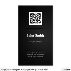 Stage Actor - Elegant Black QR Code Business Card