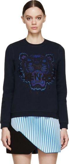 Kenzo: Navy Blue Embroidered Tiger Sweatshirt | SSENSE