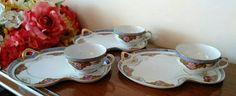 Set of 3 Noritake Morimura Snacks Sets with Matching Tea Cups
