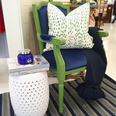 Time to refresh your nest! January is the perfect time to fluff and fix your space for a fresh New Years look! #tfssi #stsimonsisland #seaisland #goldenisles #freshstart #newlook #interior #style #interiordesign #katespade #gardenstool #navy #green #popofcolor #ihavethisthingwithcolor #stripes #dashandalbert #shopsmall #shoplocal #shopgoldenisles