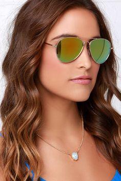 2c5b90e3fe Gold Sunglasses - Mirrored Sunglasses - Aviator Sunglasses -  13.00  Mirrored Aviator Sunglasses