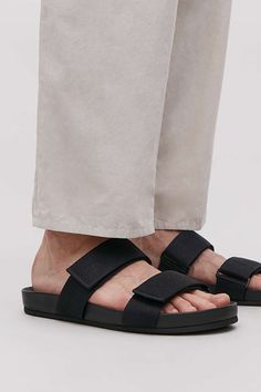 A slip-on style, these sliders have adjustable webbing straps that fasten with Velcro. Minimal and casual, they have a moulded leather footbed for comfort. This piece is part of our COS × Parsons edit. New Shoes, Men's Shoes, Shoes Men, Ootd Fashion, Fashion Brand, Suit Shop, Man Shop, Latest Bags, Contemporary Fashion