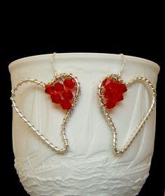 Ruby Red Heart Crystal Drop Earrings by rosepetalsjewelry on Etsy, $11.00