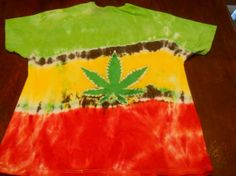 Pot Leaf Dyed on shirt with Rastafarian Colors on Wanelo