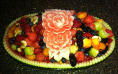 "Larry Slawson who is a student of my video lessons, ""Carving Watermelons - Roses, Buds and Leaves"" made this beautiful watermelon fruit salad basket. Watermelon Fruit Salad, Watermelon Basket, Watermelon Carving, Food Design, Food Art, Acai Bowl, Breakfast, Recipes, Larry"