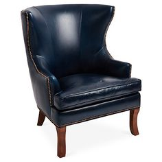 Thomas Wingback Chair, Navy Leather $1,895.00