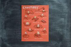 CAMPFIRES* | 18x24 3 color screen print - $45 | Designer: Brainstorm #poster #decor