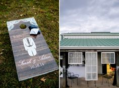 Custom wedding corn hole boards. Window seating charts for wedding reception.  Carley Rehberg Photography