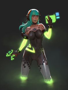 Animated Cyberpunk Girls Collection by Gui Guimaraes Character Concept, Character Art, Concept Art, Character Design, Cyberpunk Girl, Arte Cyberpunk, Sci Fi Characters, Girls Characters, Art Manga