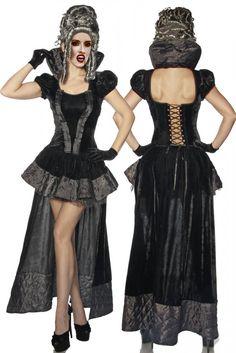 - hochwertiges Vampir-Gothic-Kostüm - aus Samt und abgestepptem Satin - kurzer…