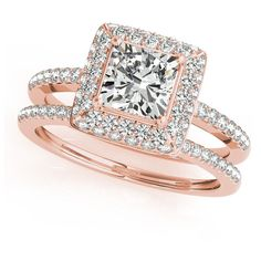 Allurez Cushion Cut Diamond Halo Bridal Set 18k Rose Gold (2.20ct) ($9,725) ❤ liked on Polyvore featuring jewelry, rings, rose, rose gold jewelry, rose wedding ring, wedding rings, pink gold engagement rings and cushion cut ring