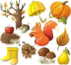 Illustration about Set of elements and items that represent autumn. Illustration of food, crops, autumn - 33276749 Autumn Crafts, Fall Crafts For Kids, Autumn Art, Autumn Leaves, Thanksgiving Background, Free To Use Images, Halloween Drawings, Autumn Activities, Fall Pumpkins