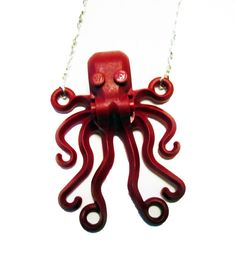 Red Lego octopus necklace by InsomniaStudios on Etsy, $16.00