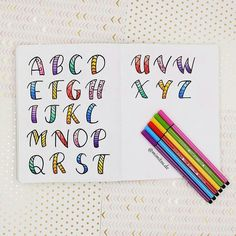 """Week 19 of the week visual challenge"""" by with the theme """"letters"""" 💞💟 . Bullet Journal Banner, Bullet Journal Notebook, Bullet Journal School, Bullet Journal Ideas Pages, Bullet Journal Inspiration, Handwriting Alphabet, Hand Lettering Alphabet, Doodle Lettering, Creative Lettering"""