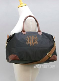 Monogrammed Khaki Weekend Travel bag $44