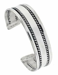 Sterling Silver Flat wire cuff Bangle Bracelet with 2 Ropes 18 mm (11/16 in.) wide Sabrina Silver. $145.08