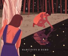 """NARCISSUS AND ECHO """"Why, beautiful being, do you shun me? Surely my face is not one to repel you. The nymphs love me, and you yourself look not indifferent upon me. When I stretch forth my arms you do the same; and you smile upon me and answer my..."""