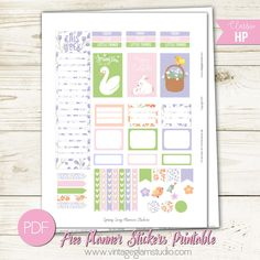 Free Printable Spring Song Planner Stickers from Vintage Glam Studio