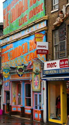 All the colour in this shop in Camden Town brightens the dreary rain!
