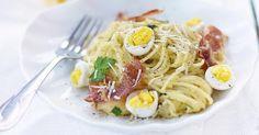 Recette de Spaghettis à la carbonara légère au Thermomix®. Facile et rapide à réaliser, goûteuse et diététique. Ingrédients, préparation et recettes associées.