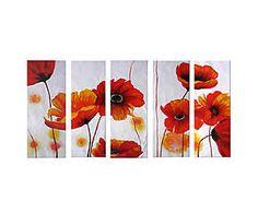 Composizione di 5 tele dipinte a mano Infiniti papaveri - 30x90 cm