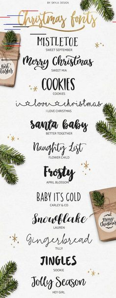 Christmas Fonts Cute, fun, modern calligraphy fonts for your Christmas Creations! Mistletoe – Sweet September Merry Christmas – Sweet Mia Cookies I love Christmas Santa Baby – Better Together Nau… Christmas Fonts, Merry Christmas Wishes, Christmas Design, Calligraphy Christmas, Christmas Doodles, Christmas Cards, Holiday Fonts, Christmas Typography, Christmas 2017