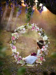 Hula hoop decorated with flowers Swing Photography, Girl Photography, Children Photography, Fairy Photoshoot, Fairies Photos, Easter Pictures, Floral Hoops, Photo Sessions, Mini Sessions
