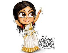 Doodle Kathakali on Behance Girl Drawing Sketches, Doodle Art Drawing, Cute Girl Drawing, Cartoon Girl Drawing, Cartoon Sketches, Girl Sketch, Girl Cartoon, Cute Cartoon, Cute Drawings