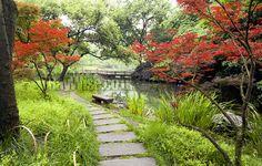 Chinese Garden, Hangzhou, West Lake, Pathways, Bridge, Sidewalk, Trees, River, Stone