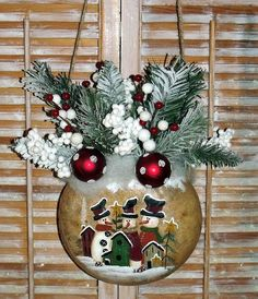 Hand Painted  2Sided Canteen Gourd Snowman Scene by JennysToleShed, $59.00