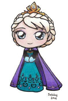 Coronation Elsa by SarahForde on DeviantArt Coronation Elsa by sakkysa. Kawaii Girl Drawings, Cute Disney Drawings, Cute Animal Drawings Kawaii, Cute Easy Drawings, Disney Princess Drawings, Cute Girl Drawing, Cute Cartoon Drawings, Princess Cartoon, Kawaii Disney