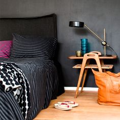 While Marimekko is a global business, it's very much a local one too. The fashion and homewares company still prints man. Purple Bedding, Marimekko, Home Bedroom, Bedroom Ideas, Contemporary Bedroom, Beautiful Bedrooms, Home Collections, Table Settings, House Design