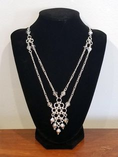 Silver Japanese Lace Chainmaille Necklace with Genuine Swarovski Bead Accents