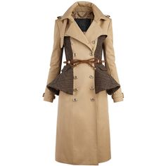 Burberry Cotton Blend Peplum Trench Coat ❤ liked on Polyvore featuring outerwear, coats, jackets, coats & jackets, burberry, trench coats, women's, beige trench coat, burberry trenchcoat and peplum coat