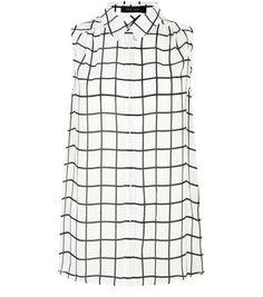 Ärmellose, karierte Bluse mit weißem Gittermuster