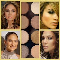 Regola n°3  Cerchiamo di ispirarci a chi ha una tipologia di capelli, occhi e incarnato simile alla nostra. Jennifer Lopez ha occhi e capelli castani, pelle ambrata.  Per un make up da giorno, J.lo predilige le tonalità rosa.  Per un make up da sera, invece, le tonalità del marrone, sabbia, cioccolato. #make up