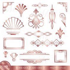 BRONZE ART DECO Accents Clipart: Set by MNINEdesigns *Great for use on greeting cards, invitations, printable projects, party packs. Art Deco Borders, Motif Art Deco, Art Deco Pattern, Art Deco Design, Design Design, Logo Design, Graphic Design, Design Fails, Quilt Design