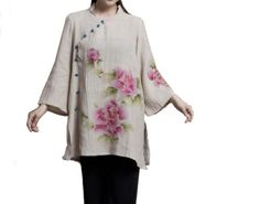 100% Handmade Pure Linen Blouse Shirt Top - Oriental Chinese Hand Paint Art #110 Interact China. $118.00. Simple elegance with great charm; Stylish blouse in modern vintage Chinese chic. 100% handmade in good workmanship standard; Unique pattern available in limited quantity. Original design embossed with fabulous hand painted flowery artwork. Choice of linen or pure cotton for excellent comfort, ensuring natural, light weight, soft and good breathability