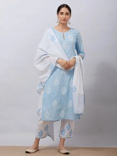 Sky Blue Hand Block Printed Cotton Kurta with White Pants and Mul Dupatta - Set of 3 Printed Kurti Designs, Simple Kurti Designs, Kurti Neck Designs, Kurta Designs Women, Salwar Designs, Dress Designs, Colour Combination For Dress, Blue Color Combinations, Blue Colour Dress