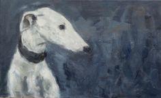 Galgo (Spanish Greyhound), oil on canvas, www.arte-canino.de