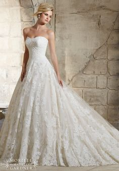 2787 Bridal Gowns / Dresses Delicate Beading Onto the Patterned Alencon Lace on the Tulle Ball Gown with Wide Hemline Border